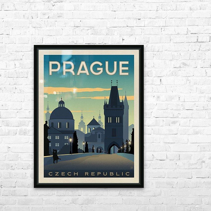 Prague vintage travel poster HD Sublimation Metal print with Decorating Float Frame (BOX)