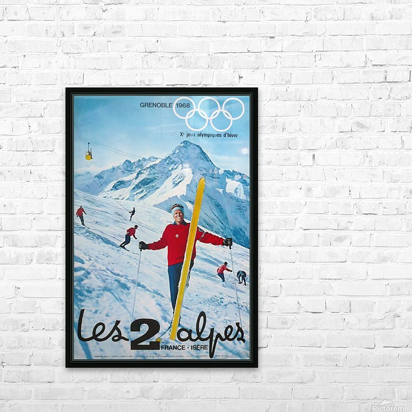 Olimpiade-ski Klasik Vintage Poster HD Sublimation Metal print with Decorating Float Frame (BOX)