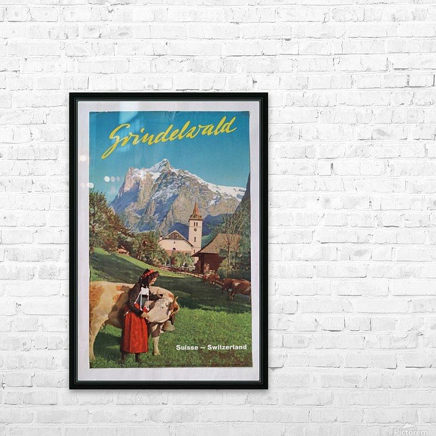 1960 Grindelwald Switzerland original vintage poster HD Sublimation Metal print with Decorating Float Frame (BOX)