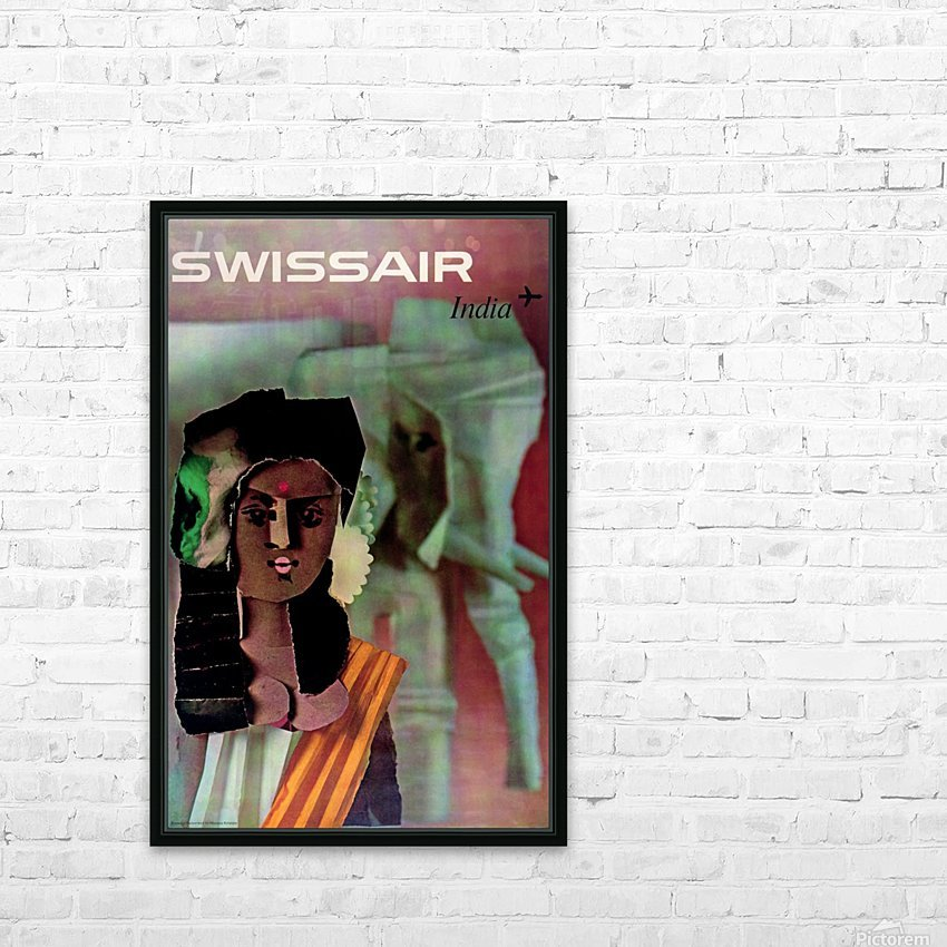 Swiss Air India Travel Art Poster HD Sublimation Metal print with Decorating Float Frame (BOX)