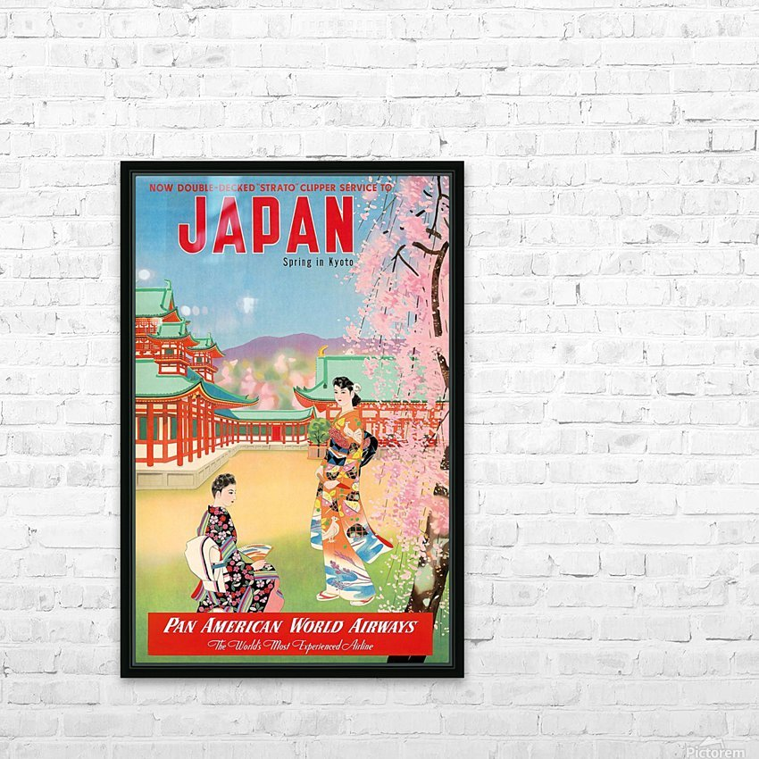 Pan American World Airways Japan Spring in Kyoto HD Sublimation Metal print with Decorating Float Frame (BOX)