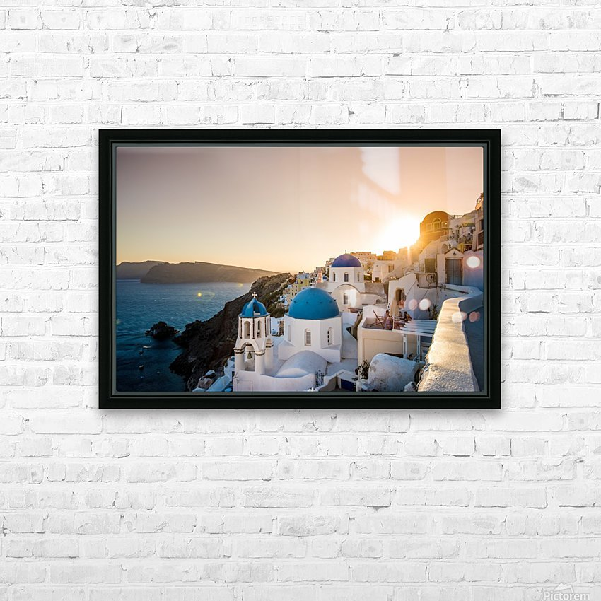 Coastal Oia HD Sublimation Metal print with Decorating Float Frame (BOX)