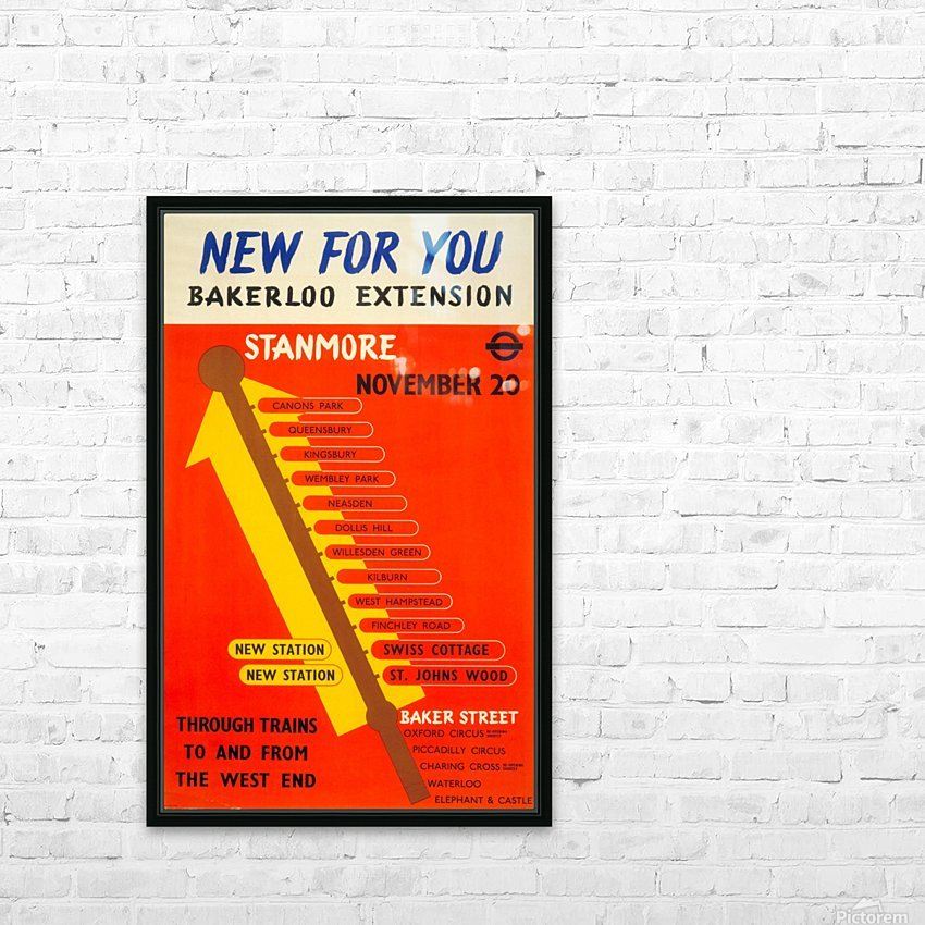 Poster Promoting the Bakerloo Line Extension to Stanmore, 1939 HD Sublimation Metal print with Decorating Float Frame (BOX)