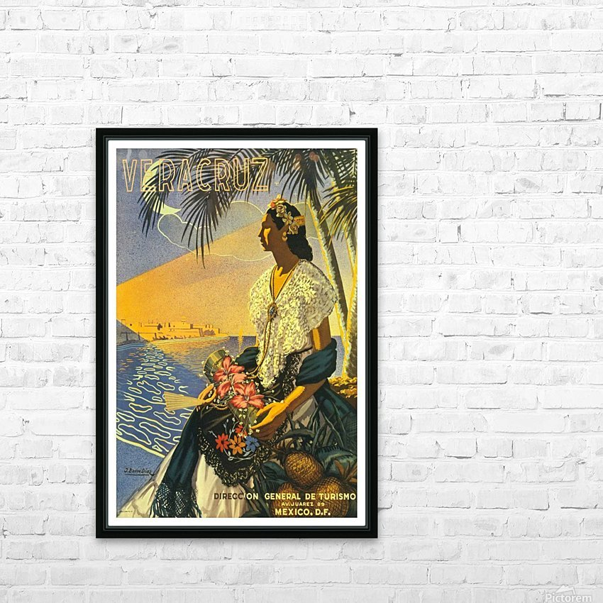 Mexico Veracruz vintage travel poster HD Sublimation Metal print with Decorating Float Frame (BOX)