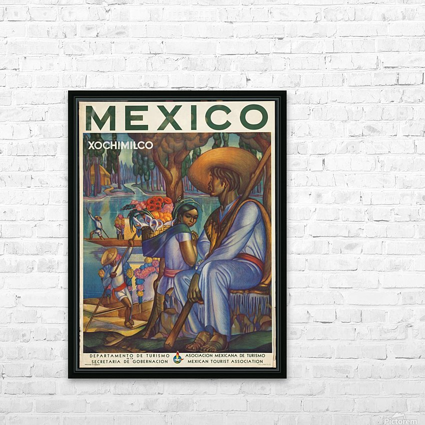 Mexico Xochimilco vintage poster HD Sublimation Metal print with Decorating Float Frame (BOX)