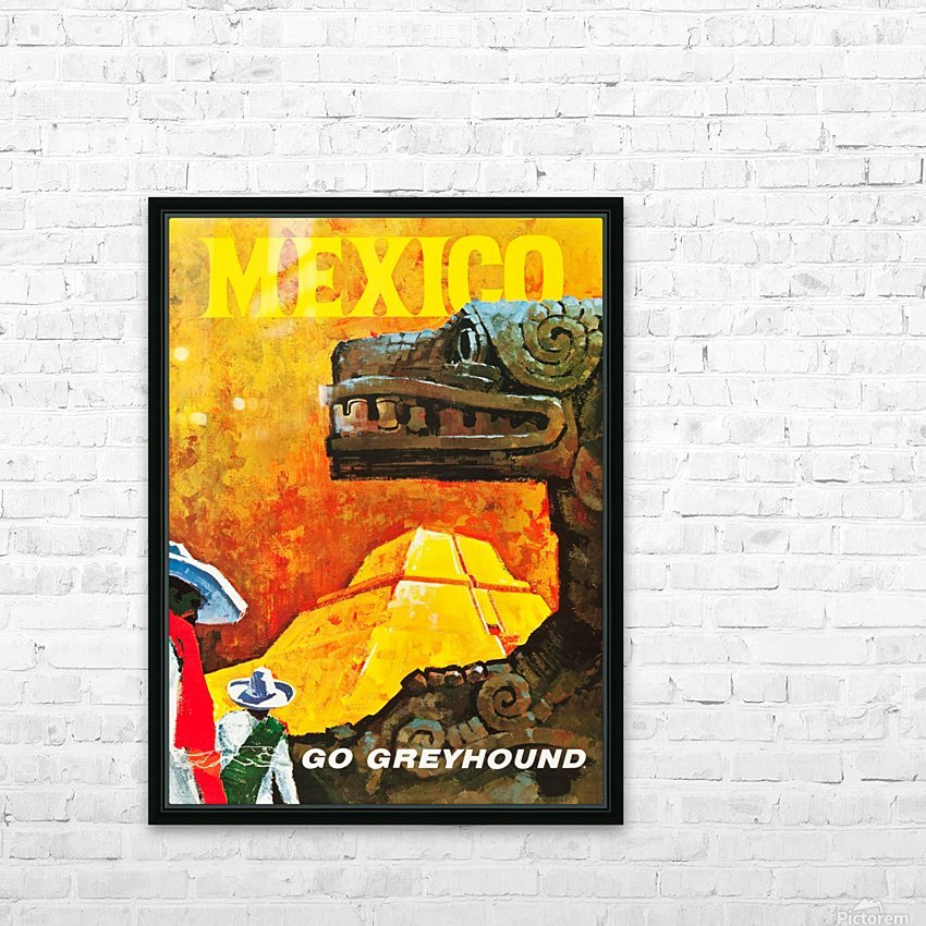 Mexico Go Greyhound Travel Poster HD Sublimation Metal print with Decorating Float Frame (BOX)