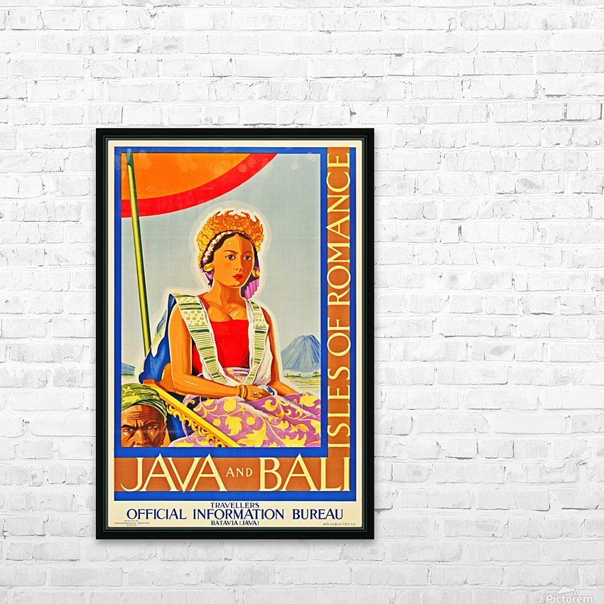 Java and Bali travel poster HD Sublimation Metal print with Decorating Float Frame (BOX)
