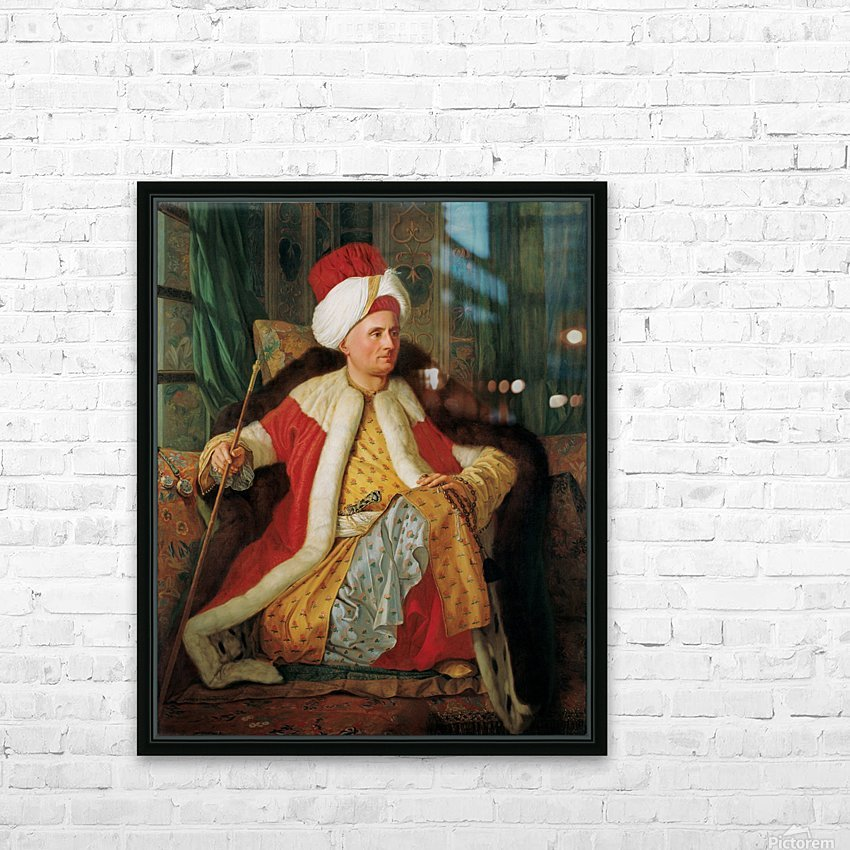 Portrait of Charles Gravier Count of Vergennes and French Ambassador in Turkish Attire HD Sublimation Metal print with Decorating Float Frame (BOX)
