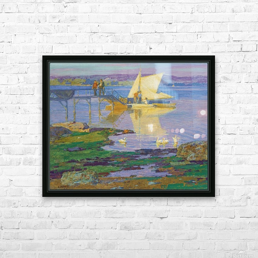 A boat with people by the dock HD Sublimation Metal print with Decorating Float Frame (BOX)