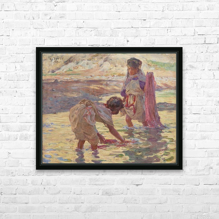 Children playing in the water HD Sublimation Metal print with Decorating Float Frame (BOX)