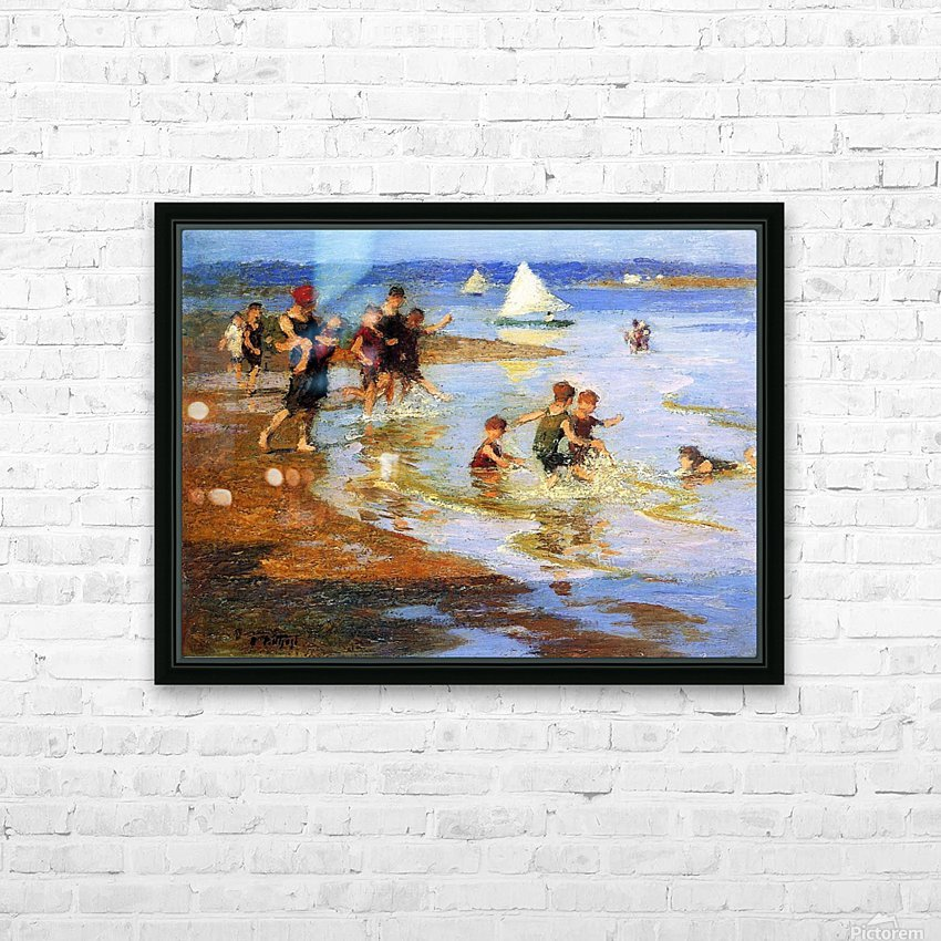 Children at Play on the Beach HD Sublimation Metal print with Decorating Float Frame (BOX)