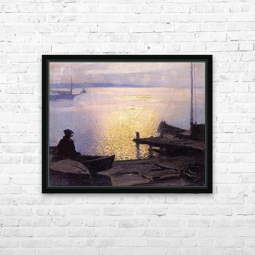 Fisherman in the sunset HD Sublimation Metal print with Decorating Float Frame (BOX)