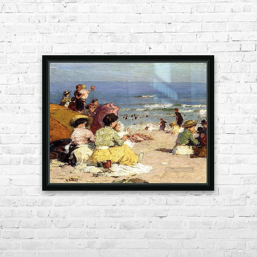 People relaxing by the beach HD Sublimation Metal print with Decorating Float Frame (BOX)
