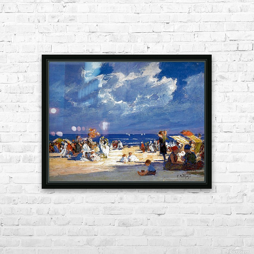 People by the beach HD Sublimation Metal print with Decorating Float Frame (BOX)