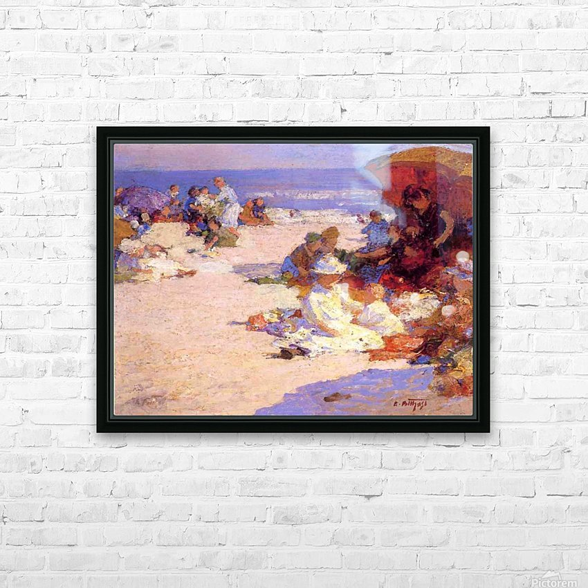Picknickers on the Beach HD Sublimation Metal print with Decorating Float Frame (BOX)