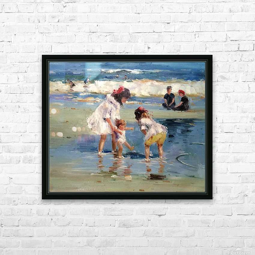 Girls playing in the water HD Sublimation Metal print with Decorating Float Frame (BOX)