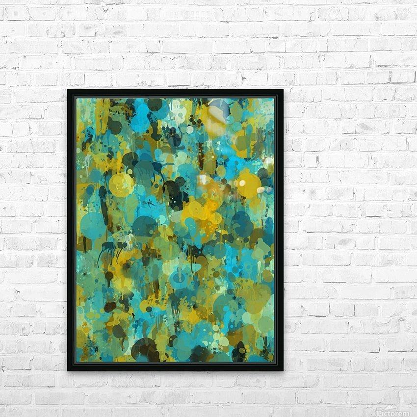 Paint Splattered Graffiti Green Blue Splash HD Sublimation Metal print with Decorating Float Frame (BOX)