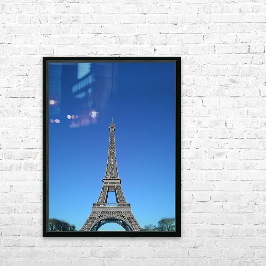 Eiffel tower Paris black and white with color HD Sublimation Metal print with Decorating Float Frame (BOX)