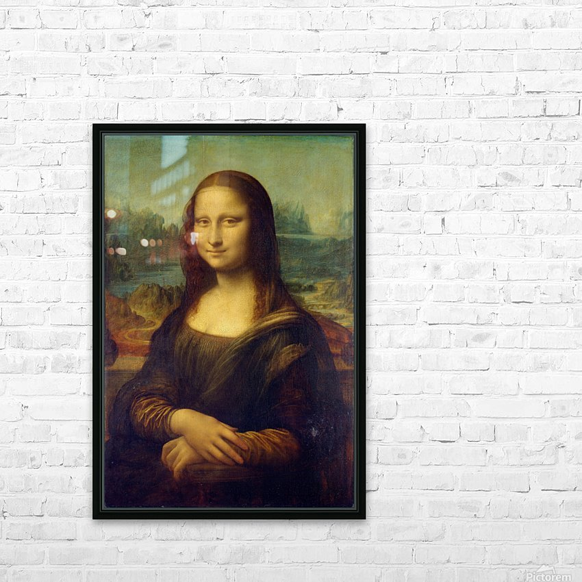 Mona Lisa Leonardo Da Vinci La Gioconda Oil Painting HD Sublimation Metal print with Decorating Float Frame (BOX)