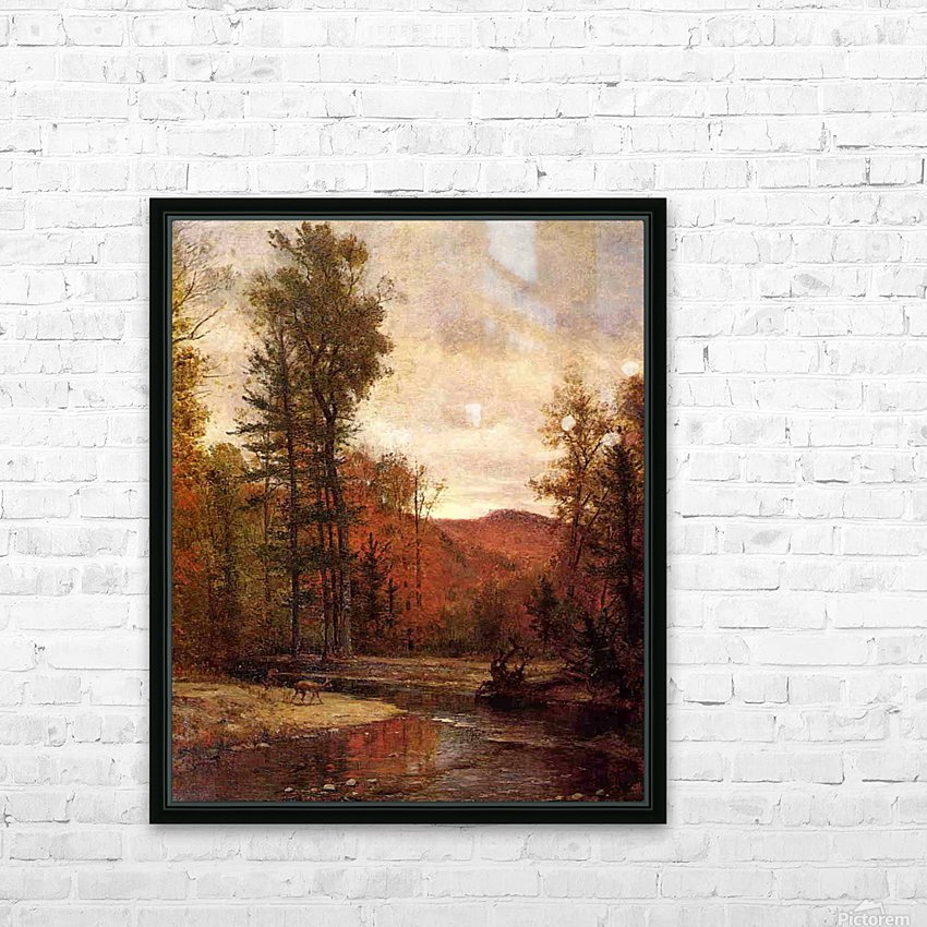Adirondack Woodland with Two Deer 1880-1889 HD Sublimation Metal print with Decorating Float Frame (BOX)