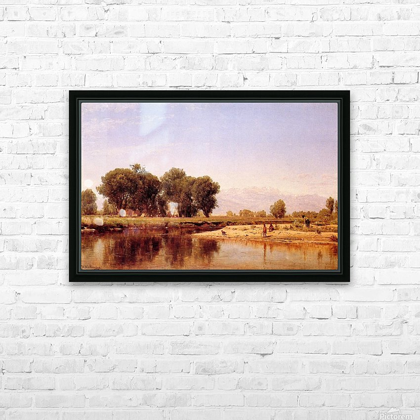 Indian Emcampment on the Platte River HD Sublimation Metal print with Decorating Float Frame (BOX)