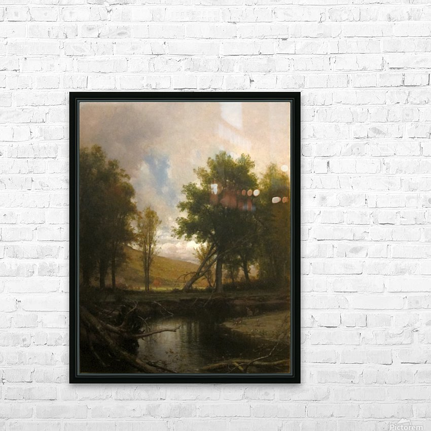 Landscape with Stream and Deer HD Sublimation Metal print with Decorating Float Frame (BOX)