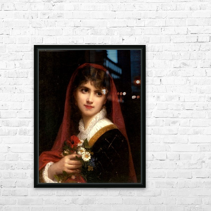 A young beauty wearing a red veil HD Sublimation Metal print with Decorating Float Frame (BOX)