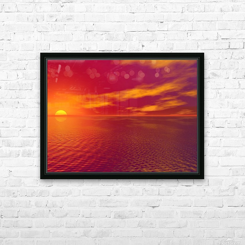 Sunset Over The Water HD Sublimation Metal print with Decorating Float Frame (BOX)