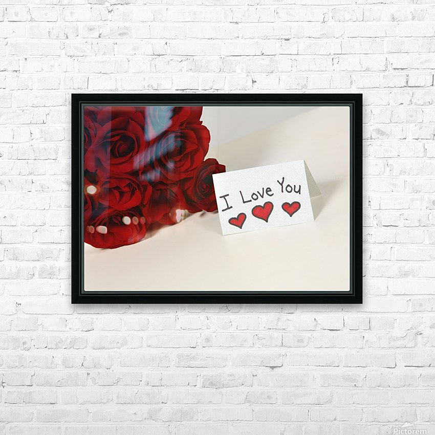 I Love You Card Beside Roses HD Sublimation Metal print with Decorating Float Frame (BOX)