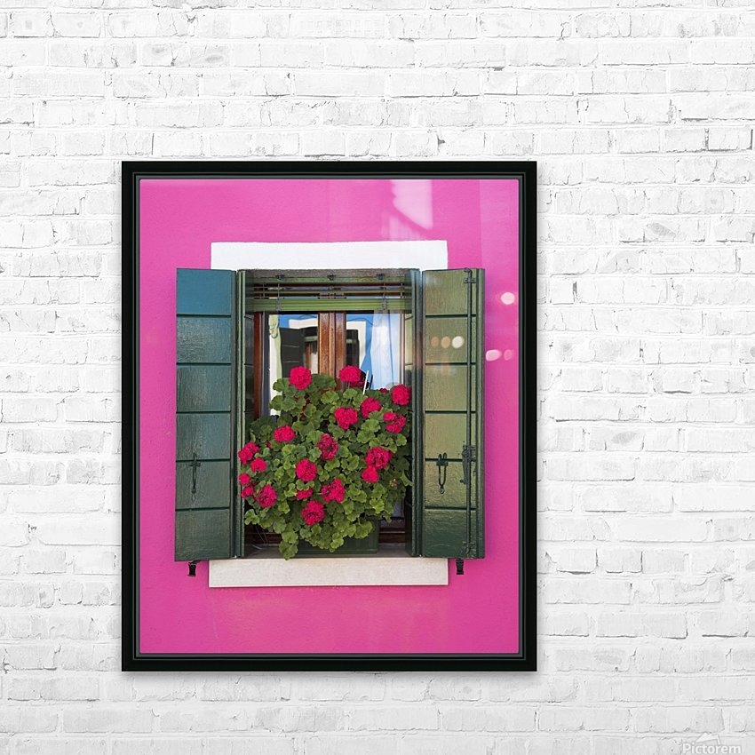 Pink Wall And Green Shutters, Burano, Italy HD Sublimation Metal print with Decorating Float Frame (BOX)