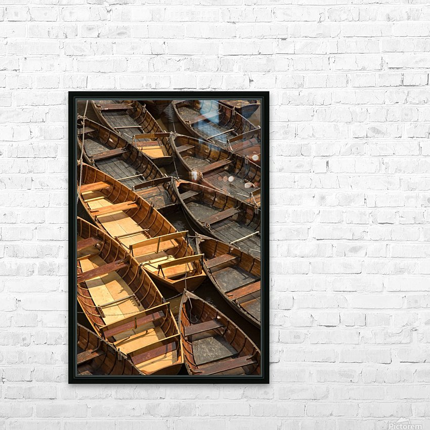 Wooden Boats HD Sublimation Metal print with Decorating Float Frame (BOX)