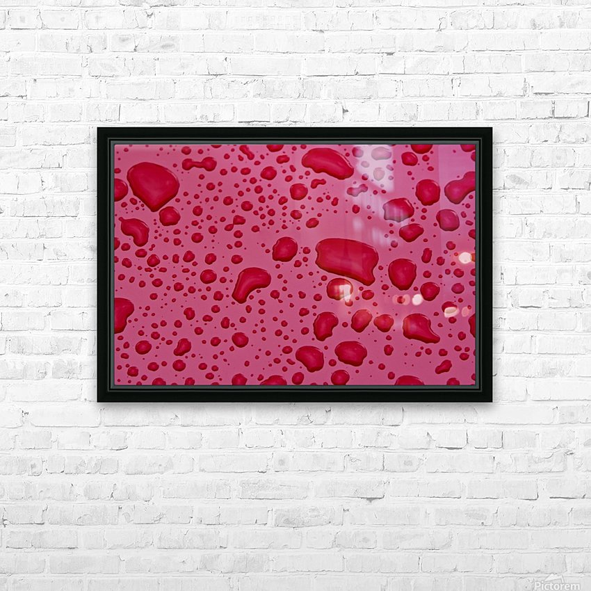 Water Drops On Pink Surface HD Sublimation Metal print with Decorating Float Frame (BOX)