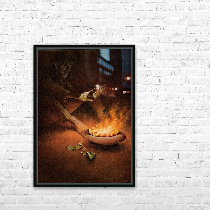Money on Fire HD Sublimation Metal print with Decorating Float Frame (BOX)