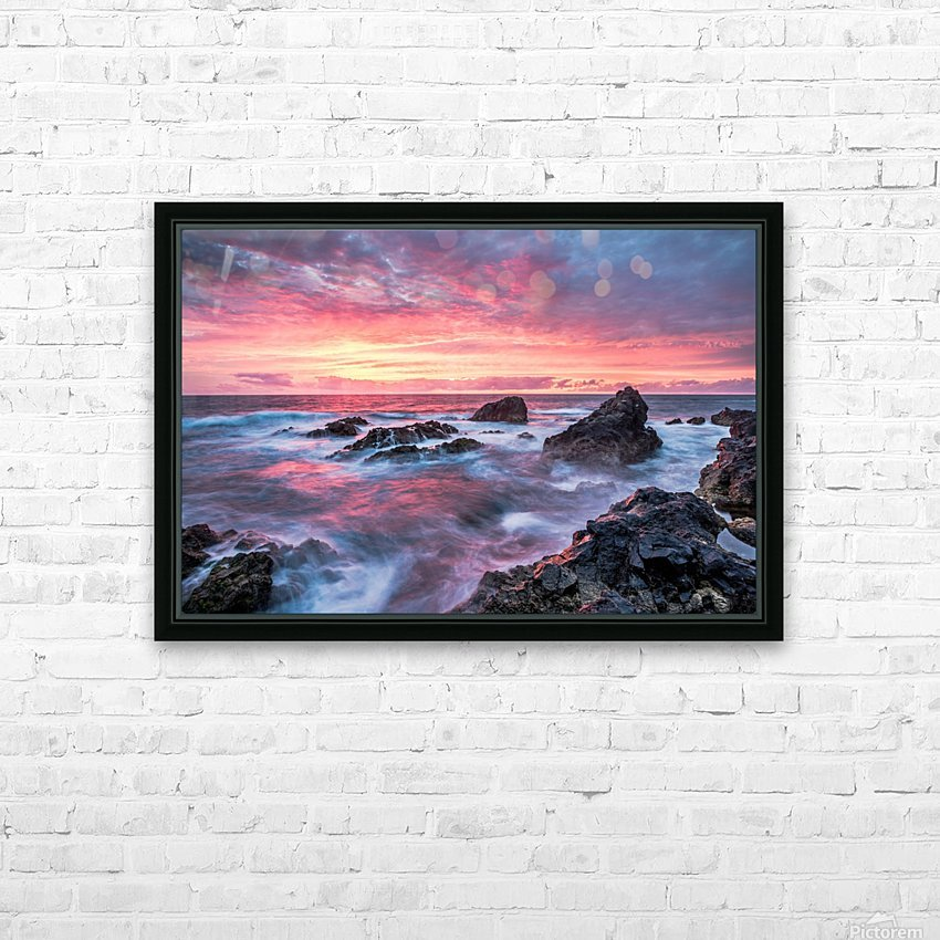 Colorful Sunset at Wild Coast on the Canary Islands HD Sublimation Metal print with Decorating Float Frame (BOX)