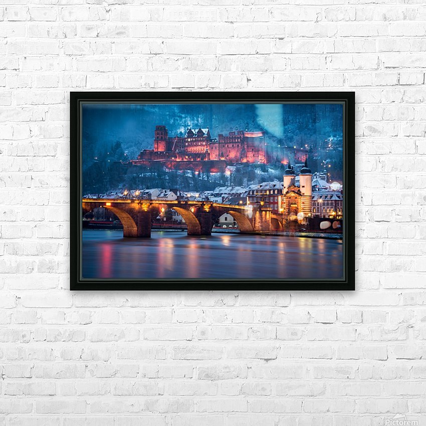 Heidelberg Castle and Old Brige in Winter HD Sublimation Metal print with Decorating Float Frame (BOX)