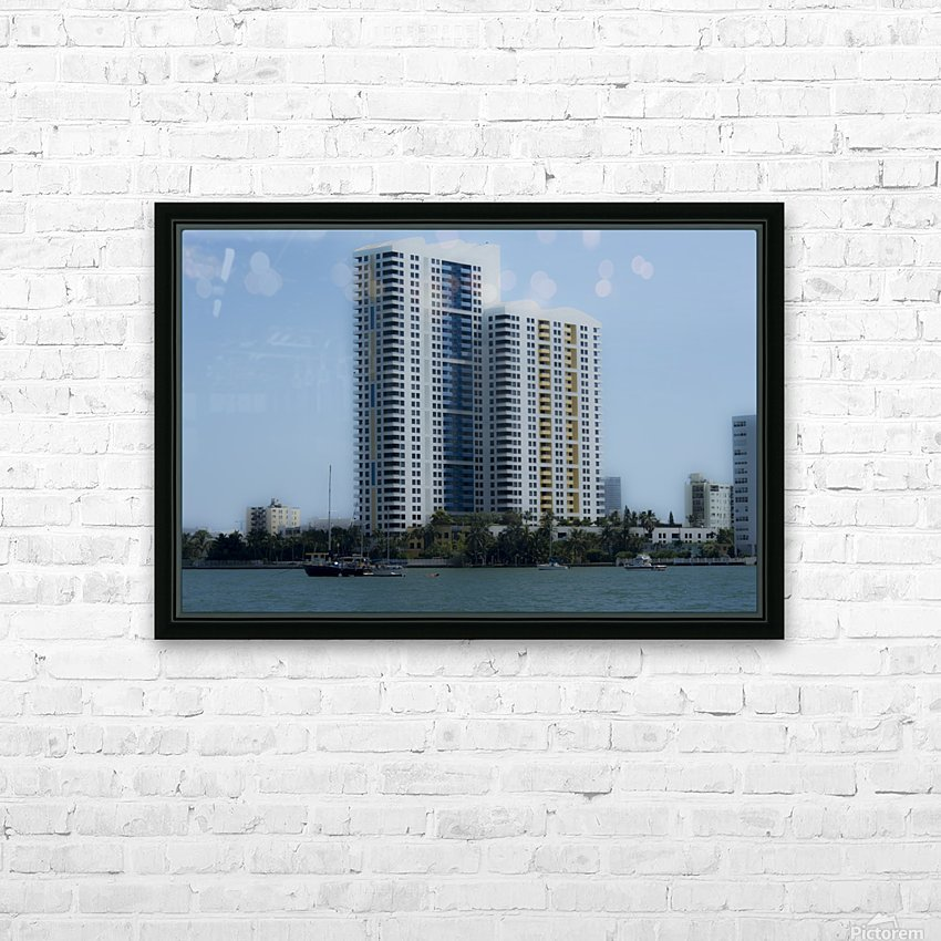 Miami Beach Buildings HD Sublimation Metal print with Decorating Float Frame (BOX)