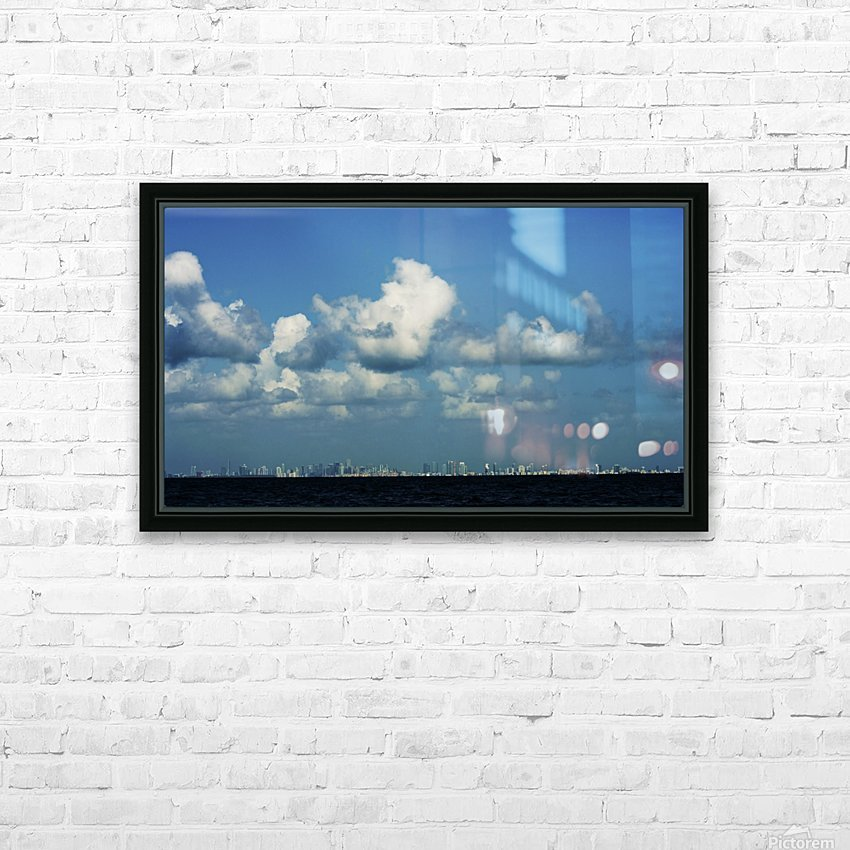 Miami Skyline HD Sublimation Metal print with Decorating Float Frame (BOX)
