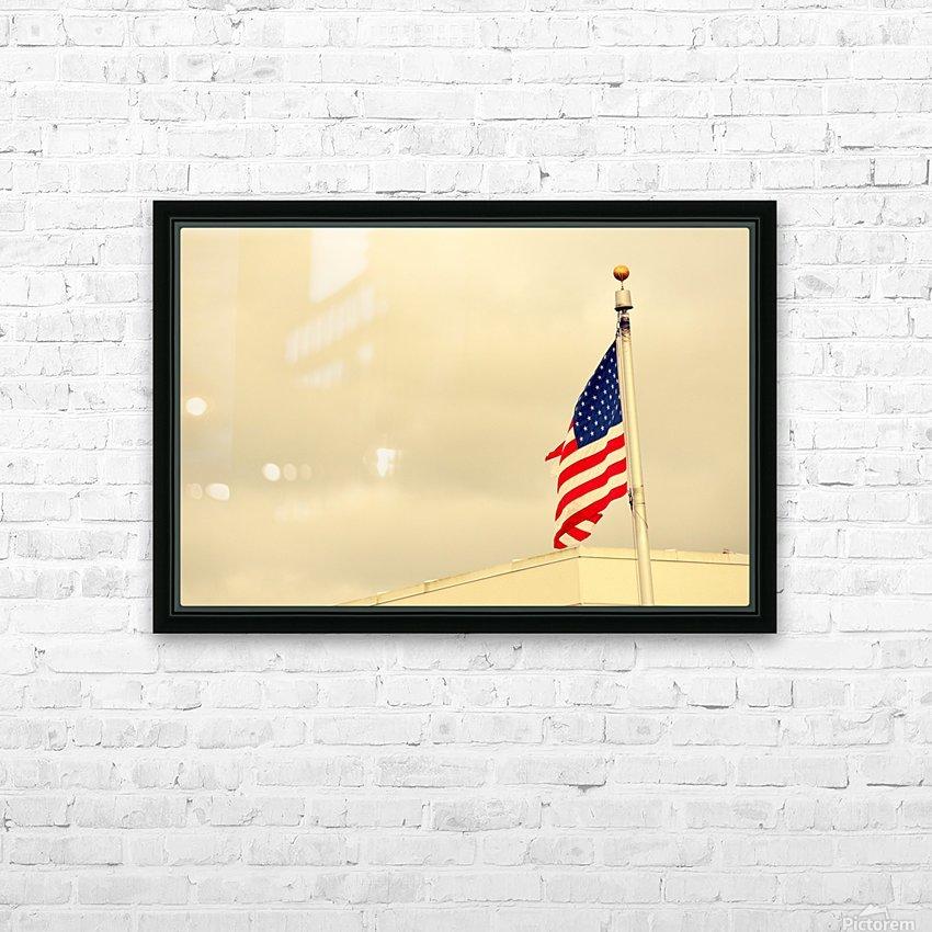 American Flag HD sublimation métal imprimé avec décoration flotteur cadre (boîte)