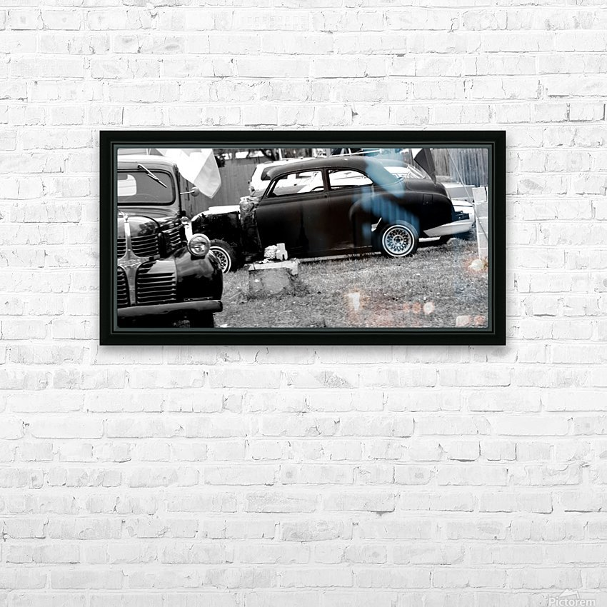 Black and White Vintage Cars HD Sublimation Metal print with Decorating Float Frame (BOX)