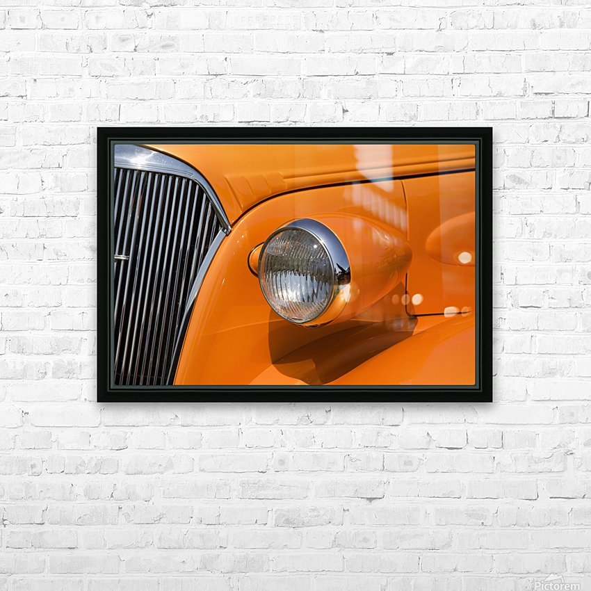 Orange Painted Vintage Car's Headlight And Front Grill; Port Colborne, Ontario, Canada HD Sublimation Metal print with Decorating Float Frame (BOX)