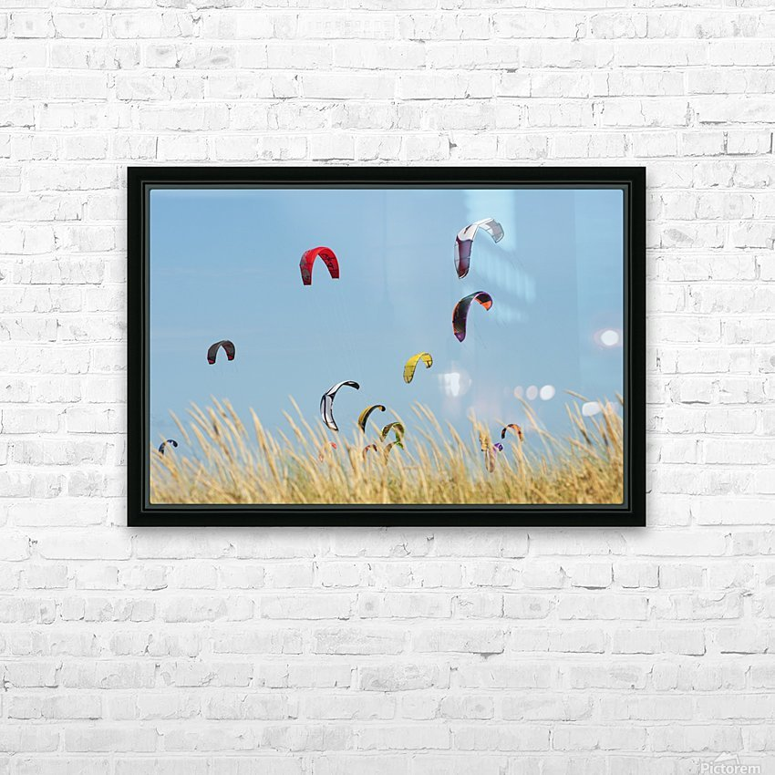 Kites Of Kite Surfers In Front Of Hotel Dos Mares; Tarifa, Cadiz, Andalusia, Spain HD Sublimation Metal print with Decorating Float Frame (BOX)