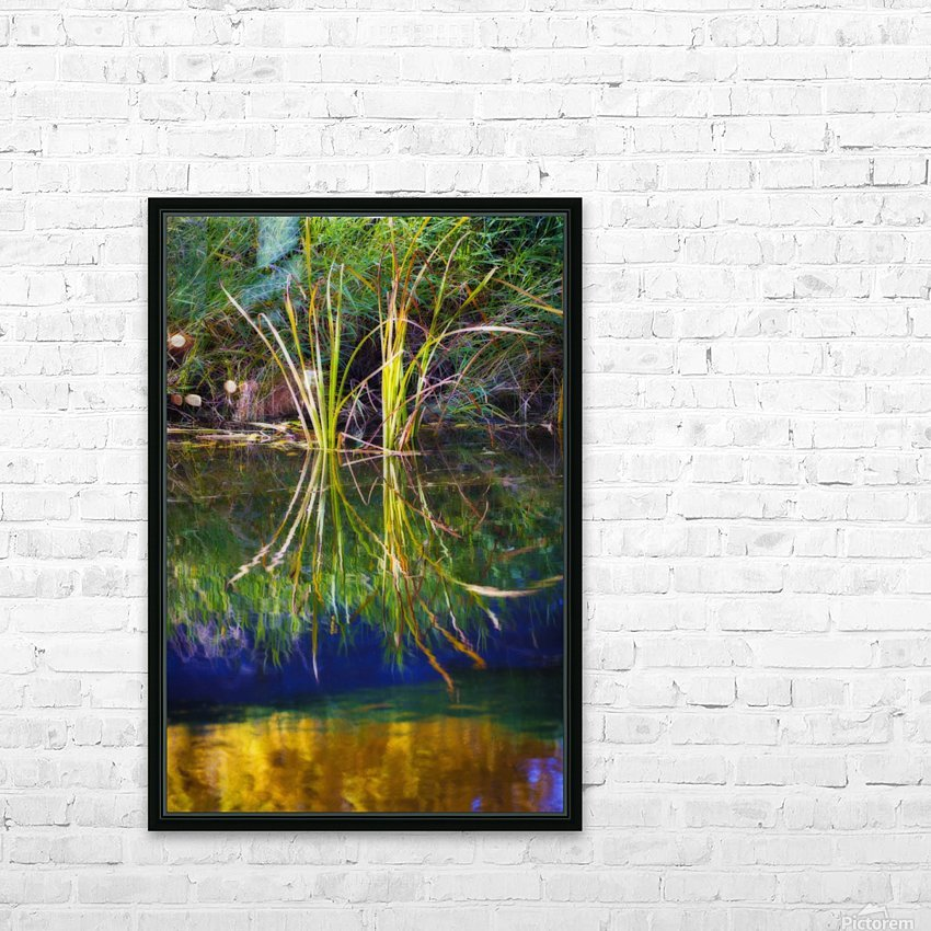 Reeds Reflecting On The Water; St. Albert, Alberta, Canada HD Sublimation Metal print with Decorating Float Frame (BOX)
