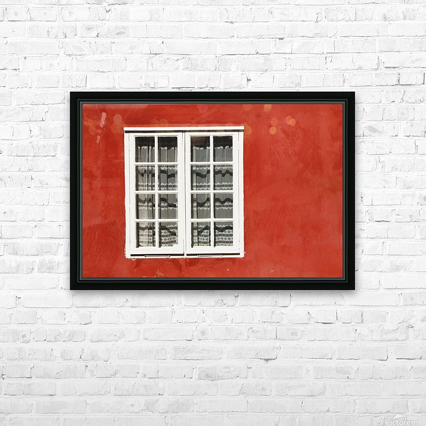Red Timber House And Window Frame In The Old Town; Porvoo, Finland HD Sublimation Metal print with Decorating Float Frame (BOX)