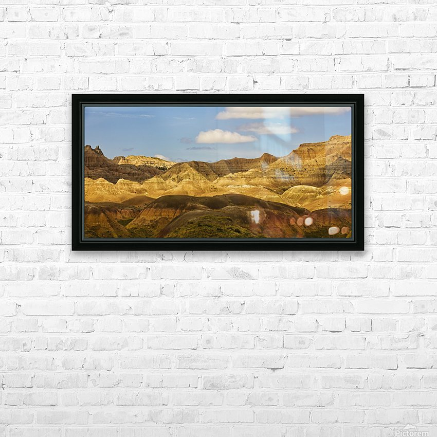 Dramatic light on the eroded formations of badlands national park; south dakota united states of america HD Sublimation Metal print with Decorating Float Frame (BOX)
