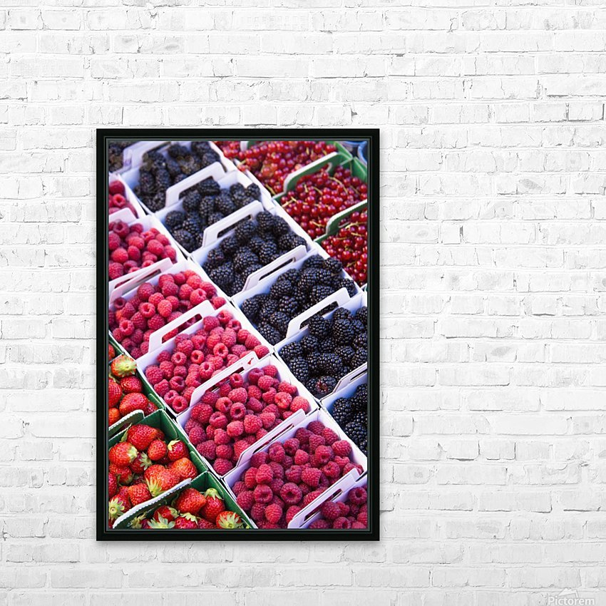 Berries in boxes at a food market;Sault vaucluse provence france HD Sublimation Metal print with Decorating Float Frame (BOX)