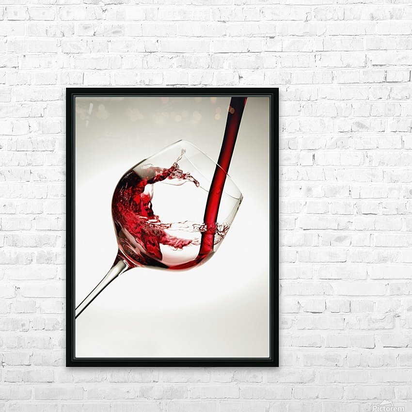 Red wine pouring into a glass HD Sublimation Metal print with Decorating Float Frame (BOX)
