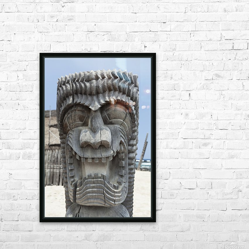 Carving of a face in City of Refuge National Historical Park; Big Island, Hawaii, United States of America HD Sublimation Metal print with Decorating Float Frame (BOX)