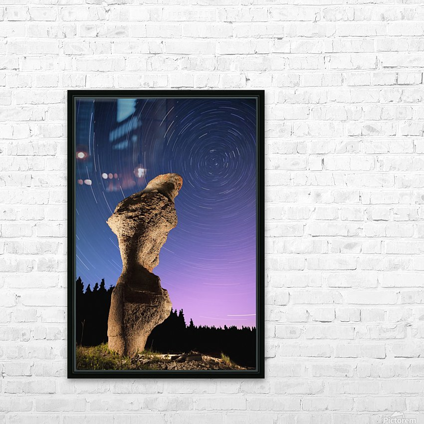 Light painting on monolith and star trails, Anse des Bonnes Femmes at Ile Niapiskau, Mingan Archipelago National Park Reserve of Canada, Cote-Nord, Duplessis region; Quebec, Canada HD Sublimation Metal print with Decorating Float Frame (BOX)