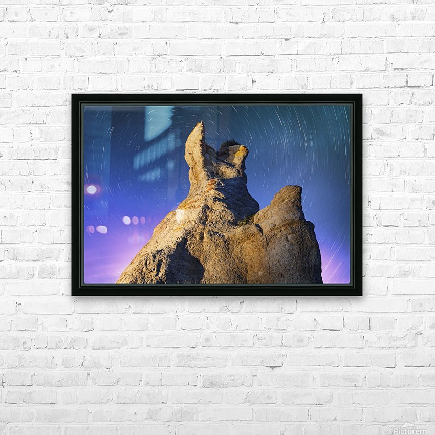 Light painting on La Montagnaise and star trails, Ile Nue de Mingan, Mingan Archipelago National Park Reserve of Canada, Cote-Nord, Duplessis region; Quebec, Canada HD Sublimation Metal print with Decorating Float Frame (BOX)