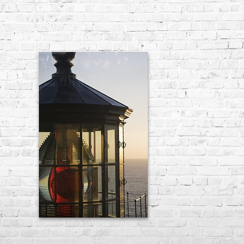The sun sets at Cape Meares Lighthouse; Oregon, United States of America HD Sublimation Metal print with Decorating Float Frame (BOX)